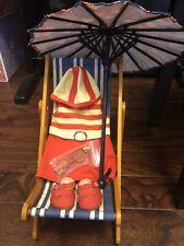 American Girl Kit Kittredge 1934 Swimsuit Beach Chair Set Lot Retired HTF