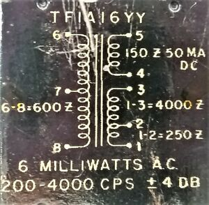 ROLA  C-280-A  Matching output Transformer TF1A16YY 600 Ω @ 150 Ω - 50 MA.DC -