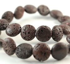 16MM BROWN VOLCANIC LAVA GEMSTONE GRADE AA FLAT ROUND BUTTON LOOSE BEADS 15.5""
