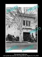 OLD LARGE HISTORIC PHOTO OF SACRAMENTO CALIFORNIA, THE No 5 FIRE STATION c1930