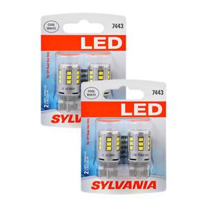 (New) SYLVANIA LED 2 Light Bulbs Cool White 7443 Pack of 2 OEM