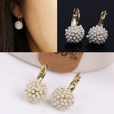 New Fashion Pearl Ear Cuff Beads Stud Earrings Chic Gold Plated Drop Earing LWCA