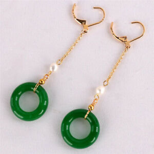 Natural Green jade Ring Earrings Dangle 18KGP Chain Ms gift New Year