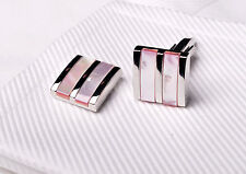 Tri Silver Pink Coral Pearl Wedding Fashion Dress Shirt Mens Best Cufflinks XL