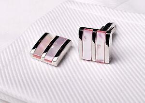 Tri Silver Pink Coral Pearl Wedding Fashion Dress Shirt Mens Best Cufflinks XL