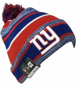 New Era New York Giants Marled Stripe Knit Beanie Hat Cap With Pom - Blue