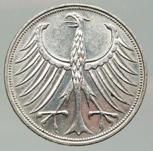 1966 F GERMANY Large 5 Mark Silver Vintage Genuine OLD Eagle German Coin i92066