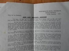 Paper documents re John Cort Dewhurst inc family tree Macclesfield 1950s