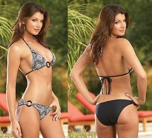 Dreamgirl Reversible Black and White Bikini with Black Ring Detail Top and Btm