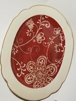 "Pier 1 Ironstone Maribeth Large Oval Serving Platter Cranberry Burgundy Red 18"""