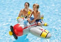 GREY Plane With Water Gun Inflatable Kids Ride On Swimming Pool Beach Toy 7537NP