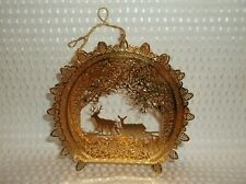 "The Danbury Mint 2000 Gold ""Deer in The Woods"" Christmas Tree Ornament"