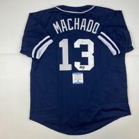 Autographed/Signed MANNY MACHADO San Diego Blue Baseball Jersey Beckett BAS COA
