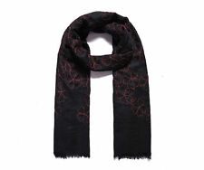Beautiful black self-fringed scarf with wine red floral flowers embroidery NWT