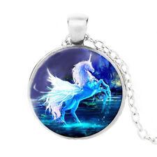 Bianco Unicorno 20 0.6cm lungo Vetro Blu Fantasia Color Argento
