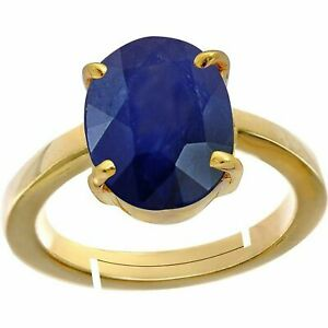 Natural Certified7 Ct Blue Sapphire Handmade 14k Gold PlatedRing  US9.5
