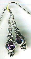 """925 Sterling Silver Amethyst Drop / Dangle Earrings Length (with hooks) 1.3/8"""""""