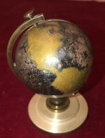 "Rare Art Deco Germany ""Bradley"" 7-Jewel Globe Travel Alarm Clock On Stand 1945"