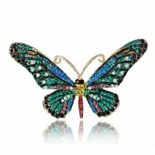 Vintage Rhinestone Crystal Butterfly Insects Brooch Pin Women Party Jewelry Gift