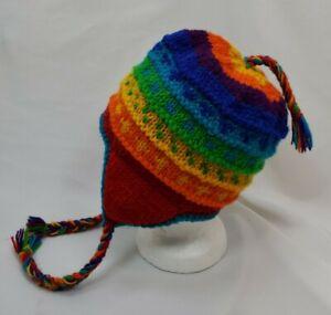 Wool Earflap Rainbow Stripe Knit Beanie Ski Hat Cap Fleece Lined Nepal Unisex
