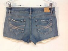 Aeropostale Distressed Denim Short Shorts  Peek a boo lace pocket Size 7/8