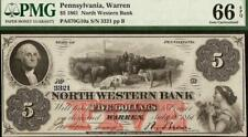 1861 $5 DOLLAR WARREN PENNSYLVANIA NORTH WESTERN BANK NOTE LARGE CURRENCY PMG 66