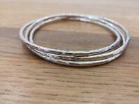 Artisan Hallmark 925 Sterling Silver Triple Interlocked Hammered Bangle Bracelet