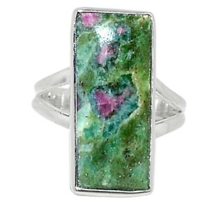 Ruby In Fuchsite - India 925 Sterling Silver Ring Jewelry s.6.5 BR99978
