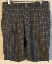 REEF Men's Gray Black White Plaid 5 Paisley Lined Pockets Casual Shorts~Size 33