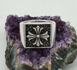 Thomas Sabo Solid Silver 925 Cross Signet Ring, Heavy, Black CZ. Size N 1/2