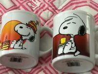 Vintage Peanuts Snoopy 1958 1965 Happy Birthday Coffe Mug Cup Lot 2 Woodstock