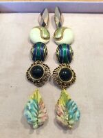 Vintage Set Of 5 Clip On Earrings Chunky Statement Jewellery Some Enamelled