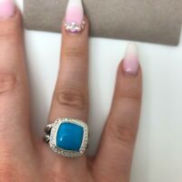 David Yurman ALBION 11mm Turquoise and DIAMONDS RING SIZE 8