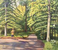 Impressionist Parklandschaft mit Frau beim Spaziergang Ölgemälde 58,5 x 68,5
