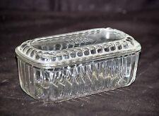 Old Vintage Depression Hoosier Glass Ribbed Refrigerator Dish Kitchen Tool Food