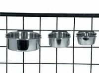 Stainless Steel Feeding Bowls x 2 with Holder Bird Parrot Rabbit Small Animal