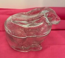 Vintage Glass Bunny Rabbit Lidded Covered Candy Dish