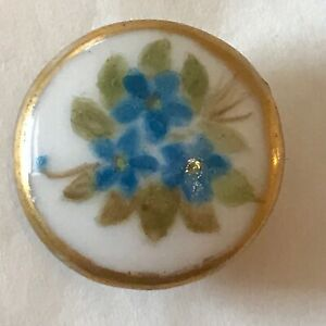 Antique Painted Porcelain Forget Me Not Sweet Floral Stud Button with Gold Edge