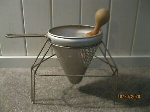 Vintage Kitchen Colander Cone Seive Strainer Ricer with Stand and Wooden Pestle