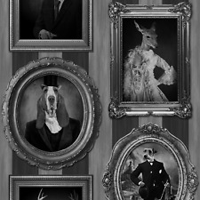 BLACK WHITE VINTAGE DOGS IN FRAMES STAGS & PUPPIES DESIGNER WALLPAPER J59309