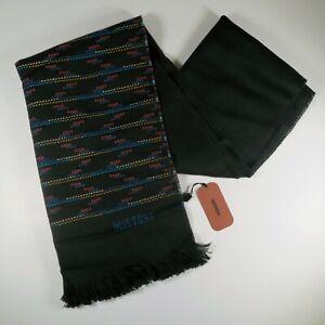 NWT Missoni 100% Wool Black Fringe Scarf Zigzag Design Italy