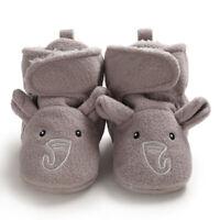 Baby Girls Boys Cozy Fleece Booties Cute Elephent Newborn Shoes Toddler Footwear