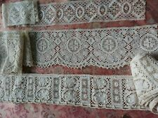 3  Antique  vintage Lace  Trim Torchon  6 YARDS cotton 1 hand made very old