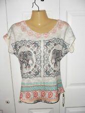 GAZE USA Women's Multicolor Elephant Print Short Sleeve Top - Size Medium