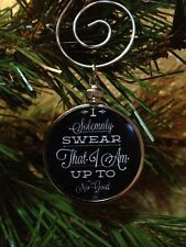 """Harry Potter Saying doublesided Silver 1.25"""" Ornament I Solemnly Swear Black 1B"""