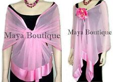 Baby Pink Chiffon Silk Scarf Wrap Sash Satin Border Maya Clothing & Gift Box NWT