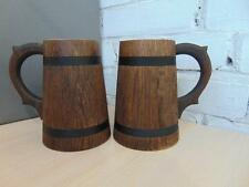 Wooden Oak Beer Mug 0.5 l (17 oz) Handmade Tankard Barrel Wood Cup 2 Pcs New