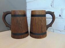 Wooden Oak Beer Mug 0.5 l (17 oz) Handmade Tankard Barrel Wood Cup 2 Pcs New