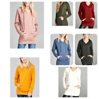 Women's Pocket Hooded Long Sleeve Sweatshirt Hoodie Pullover Jumper Sweater Tops