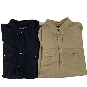 Bulwark Flame Resistant Button Front Shirt Mens XXL Khaki Tan And Black Lot Of 2